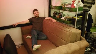 My best friend and host...Mikey! (...along with his new couch that we disassembled, brought up to his apartment, and reassembled)